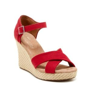 Toms Red Canvas Strappy Wedge